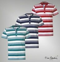 Mens Pierre Cardin Stylish Buttoned Y Neck Stripe T Shirt Sizes from S to XXL