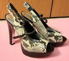 EXPRESS Sexy Peep-Toe Snakeskin Print Slingback Heels Shoes - Size 9.5 New