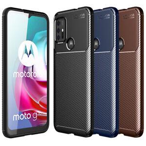 For Motorola Moto G50 G30 G10 G100 Shockproof Matte Carbon Fiber TPU Case Cover