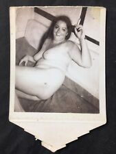 Vtg 50's Smoking Buxom Girl Amateur Polaroid Snapshot  Nude Risque Pinup