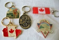 5 Vintage CANADA Keychains LOT Lake Louise/Nova Scotia/RCMP From Nice Estate