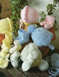 Baby DK and  Knitting Pattern  Baby Bonnets and Hats Prem  to 12 Months #101