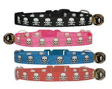 "lime purple  pink blue red ""black skull & crossbone"" cat kitten safety collar"