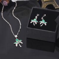 Green Blue Opal CZ Silver Women Jewelry Pendant Earrings Jewelry Set OT125-26