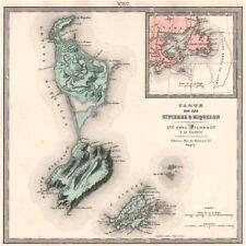 ILES ST. PIERRE & MIQUELON. Saint Pierre. Relief & towns. LE VASSEUR 1876 map