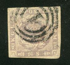 Denmark 1857 Imperforate Dotted Spandrels Scott 6 Used Cv$190