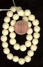 36 Vintage Plastic Beads Ivory Pressed Roses 8mm FINAL MARKDOWN #165B