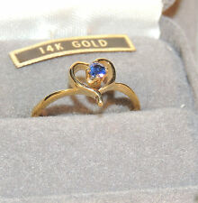 14k Gold and Blue Sapphire Heart Ring size 6 ring (5101-)
