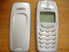 NOKIA 3410 MOBILE PHONE UNLOCKED PHONE GENUINE CASING SILVER EURO 2 PIN ADAPTOR
