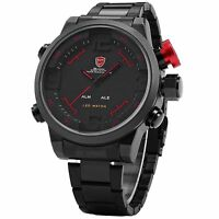 Shark Men's LED Digital Date Analog Big Face Sport Steel Quartz Wrist Watch