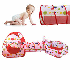 3 in 1 Play Tent Kids Toddlers Tunnel Set Pop Up Children Baby Cubby Playhouse N