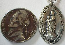 WWI STERLING MEDAL ANTIQUE PENDANT † OUR LADY OF VICTORY † PRIEST ROMAN CATHOLIC