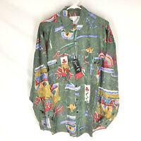 GOOUCH Mens Medium Long Sleeve Shirt Silk Button Up 90's Abstract Art VTG NEW M