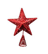 Gisela Graham Red Christmas Star Tree Topper - Glittery Tree Decoration