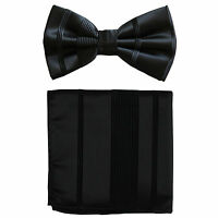 New formal men's pre tied Bow tie & Pocket Square Hankie stripes black wedding