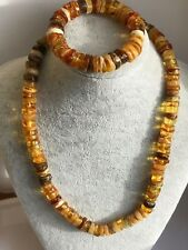 Super lot! Amber Baltic Necklace + bracelet natural polished stone 2N