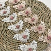 1Y Embroidered Lace Trim Flower Ribbon Wedding Dress Clothing Sewing Fringe DIY