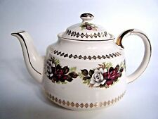 Sadler Teapot Red & white Rose Pattern Gold Trim Made In England