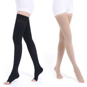 Compression Socks Thigh High Open Toe Varicose Veins Support Sports 23-32mmHg