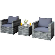 3 Pcs Patio Rattan Furniture Set Cushioned Sofa Chair Glass Table for Outdoor