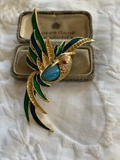Lovely Vintage 1970s Large Enamel Bird Brooch
