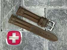 18mm SWISS ARMY CAVALRY MILITARY Leather Strap Band Dark Chocolate Brown 18