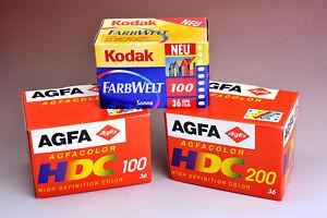 Agfa- und Kodak-Werbung, Displays, Schaufenster-Filmboxen