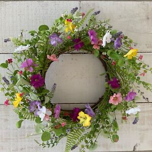 55cm Wild Flower Artificial Flower Easter Wreath Gisela Graham Country Cottage