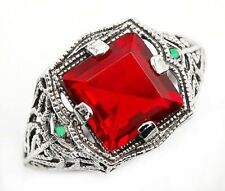 3CT Ruby & Opal 925 Solid Sterling Silver Vintage Style Ring Jewelry Sz 6, FL4