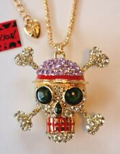 Betsey Johnson Crystal Rhinestone Enamel Skull & Crossbones Necklace Pendant