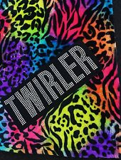 "BATON TWIRLER PLUSH ANIMAL PRINT BLANKET RAINBOW COLORED 50"" X 60"" THROW SOFT"