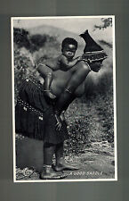 Mint RPPC Real Photo Postcard South Africa Child on Mothers Back Good Saddle