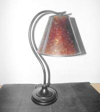 LAMPS VINTAGE STYLE FANCY UNIQUE METAL DESK LAMP WITH CRACKLED AMBER LAMPSHADE