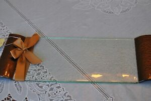"""Hallmark Elephant Glass Appetizer Platter 15"""" by 7"""" Clear with Bronze color"""
