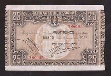 BANCO de ESPAÑA Bilbao 25 Pesetas 1937  Banco Urquijo Vascongado  EBC  Nº 780005
