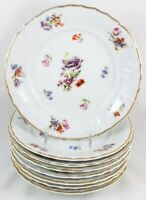FAB SET 8 BREAD PLATES FRAUREUTH CHINA 35450 DRESDEN FLOWERS EMBOSSED GOLD WHITE