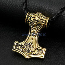 Men's Gold Myth THOR'S HAMMER Mjolnir Viking Pendant Real Leather Chain Necklace