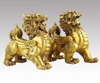 Chinese Pure Brass talisman Fengshui Evil Door Fu Foo Dog Lion beast kylin Pair