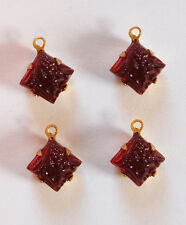 VINTAGE FLORAL RELIEF GLASS HIGH DOME BEAD PENDANTS SQUARE • 8mm • ASSORTED