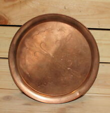Vintage hand made engraved copper tray