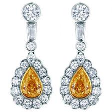Gorgeous Ladies 6.00 CTW Pear Shape Diamond 18K WG GIA certified Earrings Set