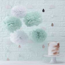 MINT&WHITE TISSUE PAPER POMPOMS-Venue Deco,Baby Shower,Birthday Party Decoration