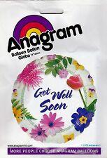 "Get Well Soon Foil Balloon 18"" Round Summer Flowers Decoration Light Green Edge"