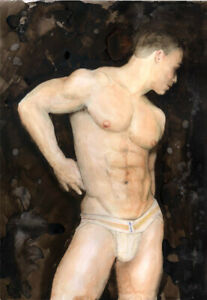 Which Side Now Painting, jock, Esteban 1/6/5 Free Ship, nude male 8 x 10