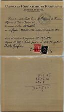 RSI-20c(504) uso fiscale-Ricevuta della cassa di risparmio Ferrara Agosto 1945