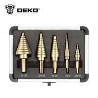 DEKO 5pcs/Set HSS Cobalt Multiple Hole 50 Sizes Step Drill Cone Drill Bits Set