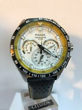 Pulsar Seiko Men's Chronograph White Dial Black And Yellow Sprap Watch VK63-X001