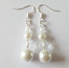 NUOVO fatto a mano perla vetro bianco chiaro Seme Perline Acrilico Sfaccettato Orecchini Da Sposa