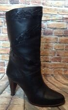 Vintage 9 West mid calf black leather boots size 7 made in Brazil