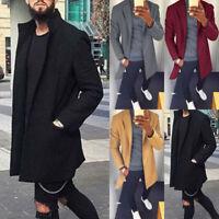 Men Autumn Slim Fit Jacket Coat Trench Long Overcoat Outwear Peacoat Casual Tops